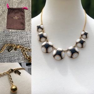 Kate Spade statement necklace,gold black and white
